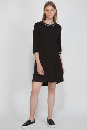 Платье трикотажное с коротким рукавом отделкой VASSA&Co. Цвет: черный