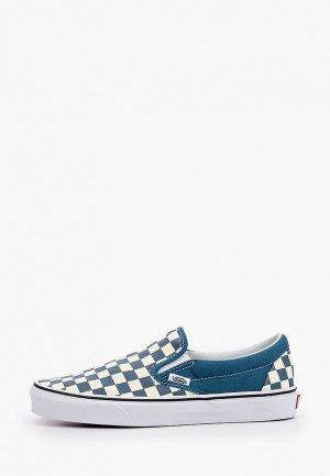 Слипоны Vans. Цвет: голубой