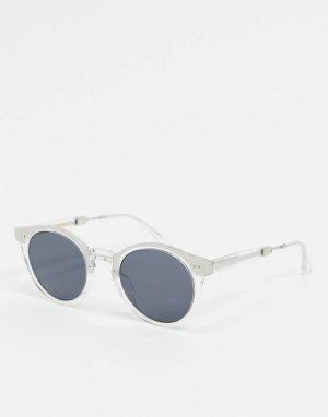 Круглые солнцезащитные очки в прозрачной оправе с металлической отделкой -Очистить A.Kjaerbede