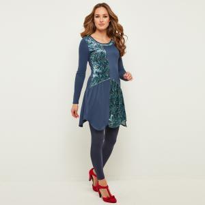Платье расклешенное с длинными рукавами и круглым вырезом JOE BROWNS. Цвет: синий