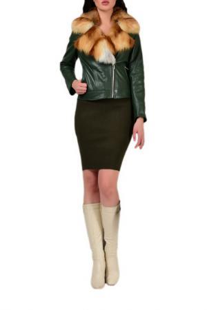 Куртка кожаная утепленная GRAFINIA. Цвет: зеленый