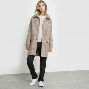 Пальто с твидовым эффектом La Redoute Collections. Цвет: темно-серый меланж