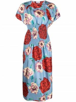 Шелковое платье миди с цветочным принтом Salvatore Ferragamo. Цвет: синий