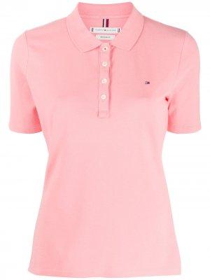Рубашка поло с вышитым логотипом Tommy Hilfiger. Цвет: розовый