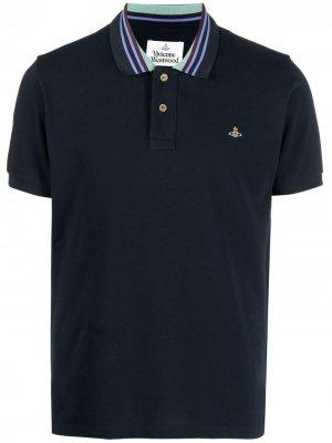 Рубашка поло с воротником в полоску Vivienne Westwood. Цвет: синий