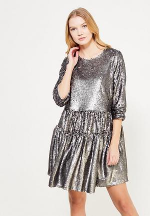 Платье Lost Ink Plus SMOCK DRESS IN SEQUINS. Цвет: серебряный