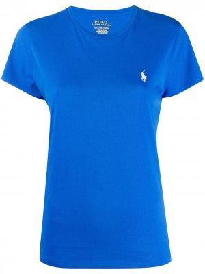 Футболка с вышитым логотипом Polo Ralph Lauren. Цвет: синий