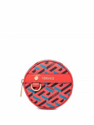 Круглый кошелек для монет с узором La Greca Versace. Цвет: оранжевый