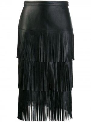 Юбка с бахромой Karl Lagerfeld. Цвет: черный