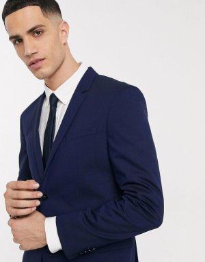 Костюмный пиджак из эластичной шерсти Tate-Темно-синий Calvin Klein
