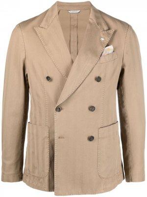 Двубортный пиджак в полоску Manuel Ritz. Цвет: нейтральные цвета