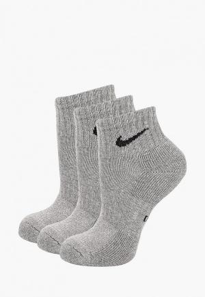Комплект Nike KIDS PERFORMANCE CUSHIONED QUARTER TRAINING SOCKS (3 PAIR). Цвет: серый
