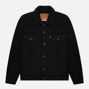 Мужская джинсовая куртка Levis Type III Sherpa Trucker Levi's. Цвет: чёрный