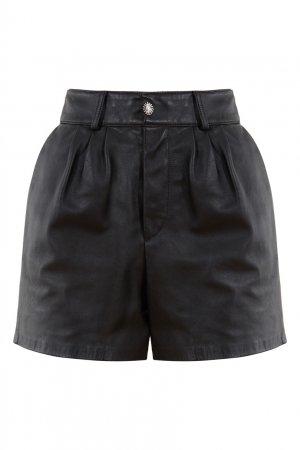 Черные кожаные шорты Alessandra Rich. Цвет: черный