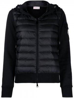 Куртка с дутыми вставками и капюшоном Moncler. Цвет: черный