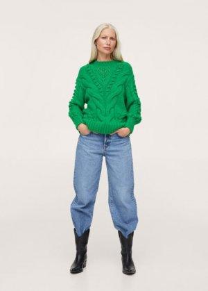 Джемпер комбинированной вязки - Ciervo Mango. Цвет: зеленый