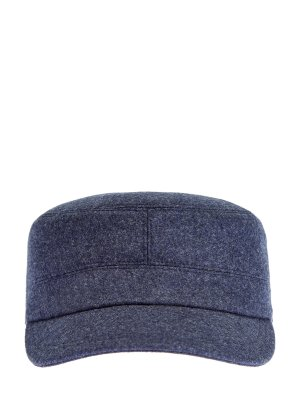 Кепка из фактурной шерсти с уплотненным козырьком BRUNELLO CUCINELLI. Цвет: синий
