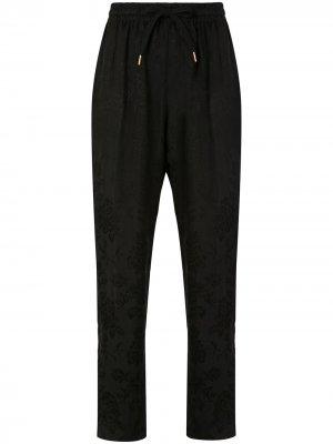 Жаккардовые укороченные брюки Dahlia с цветочным узором Karen Walker. Цвет: черный