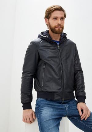 Куртка кожаная Emporio Armani. Цвет: синий