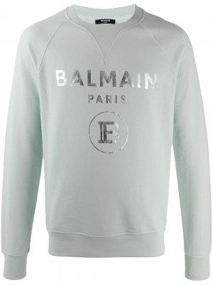 Толстовка с круглым вырезом и логотипом Balmain. Цвет: зеленый