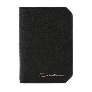 Кожаный футляр для кредитных карт Santoni. Цвет: чёрный