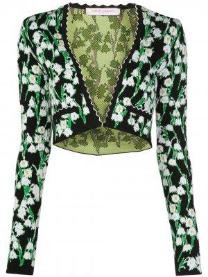 Жаккардовое болеро с цветочным узором Carolina Herrera. Цвет: черный