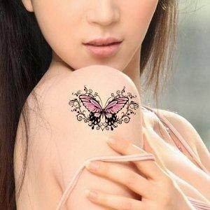 Стикер татуировки с узором бабочки 1 лист SHEIN. Цвет: многоцветный