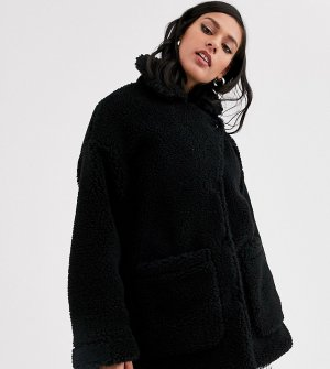 Черная удлиненная куртка из искусственного меха с большими карманами -Черный Monki