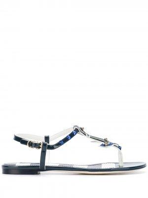 Сандалии с украшением в виде якоря Dolce & Gabbana. Цвет: синий