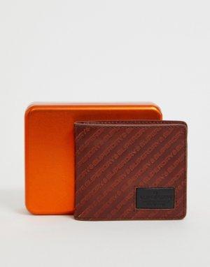 Светло-коричневый кожаный бумажник с логотипом Badgeman Superdry. Цвет: рыжий