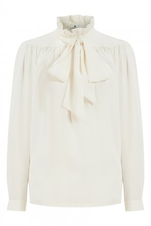 Шелковая блузка молочного цвета LAROOM. Цвет: белый
