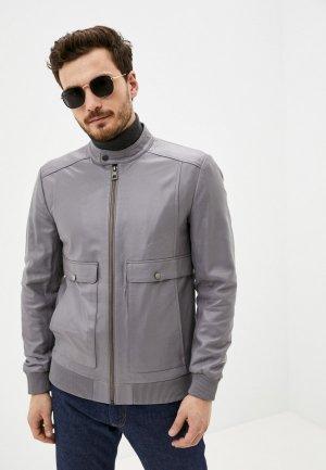 Куртка кожаная Giorgio Di Mare. Цвет: серый