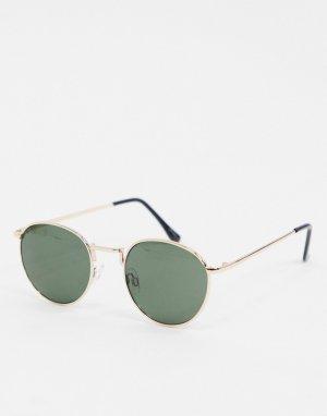 Круглые солнцезащитные очки в золотистой оправе -Золотой Selected Homme