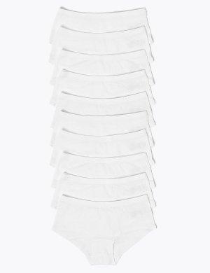 Хлопковые трусы-шортики с добавлением эластана (10 шт.) Marks & Spencer. Цвет: белый