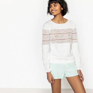Пуловер с кружевом и круглым вырезом LA REDOUTE COLLECTIONS. Цвет: слоновая кость