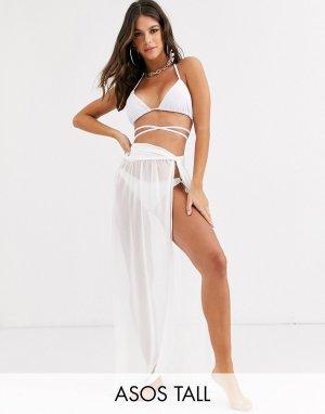 Белая пляжная юбка макси из переработанных материалов с перекрученной отделкой ASOS DESIGN TALL-Белый Tall