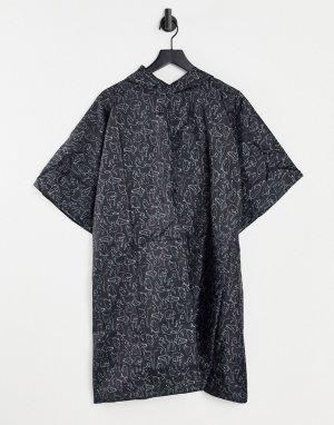 Черное складывающееся пончо из переработанных материалов с принтом в виде женщин Pia-Черный цвет Monki