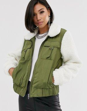 Куртка в стиле милитари с искусственным мехом Blank NYC-Мульти NYC