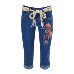 Брюки капри узкие из джинсовой ткани с вышивкой спереди JOE BROWNS. Цвет: синий