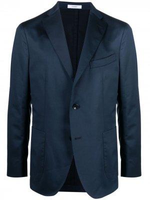 Однобортный пиджак с заостренными лацканами Boglioli. Цвет: синий
