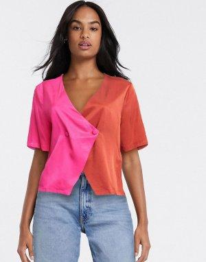 Розовая/красная атласная блузка -Розовый Gestuz