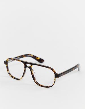 Коричневые квадратные очки с прозрачными стеклами DATT-Коричневый Spitfire