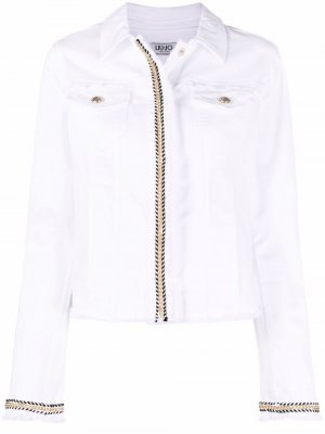 Джинсовая куртка с контрастной отделкой LIU JO. Цвет: белый