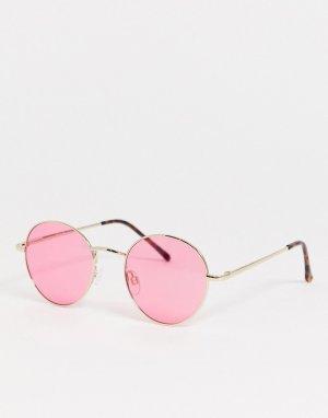 Круглые солнцезащитные очки с красными стеклами в золотистой оправе -Золотой AJ Morgan