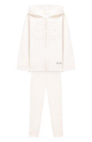 Комплект из кардигана и брюк La Perla. Цвет: бежевый