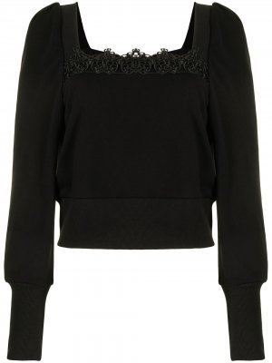 Lace-embroidered puff-sleeve top BAPY BY *A BATHING APE®. Цвет: черный