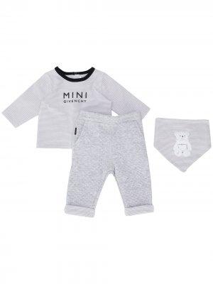 Комплект из топа, брюк и нагрудника с логотипом Givenchy Kids. Цвет: коричневый