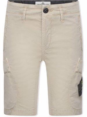 TEEN logo-patch cotton cargo shorts Stone Island Junior. Цвет: нейтральные цвета