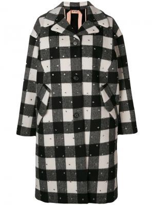 Однобортное пальто с отделкой Nº21. Цвет: черный
