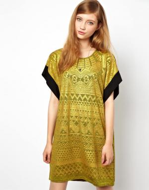 Платье с ацтекским принтом цвета металлик Denham. Цвет: кремниевый серый